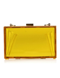 Fashion Yellow Pure Color Decorated Sqaure Shape Bag