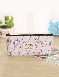 Fashion White Tree Pattern Decorated Pencil Case