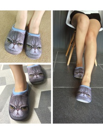 Personality Blue Cat Shape Decorated Slipper