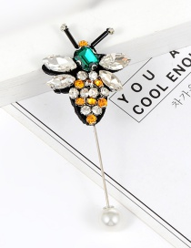 Elegant Green+yellow Bee Shape Decorated Brooch