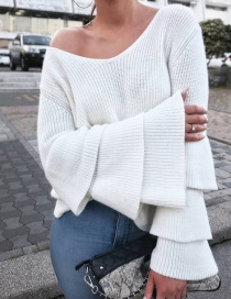 Lovely White Pure Color Decorated Sweater