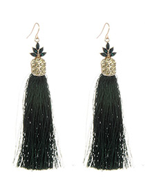 Lovely Green Pineapple Shape Decorated Tassel Earrings