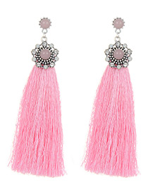 Elegant Pink Round Shape Decorated Tassel Earrings