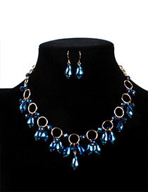 Fashion Blue Water Drop Decorated Jewelry Set