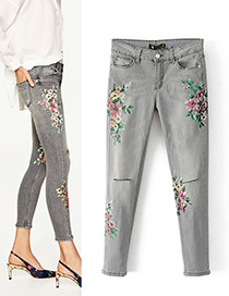 Fashion Gray Flower Pattern Decorated Jeans
