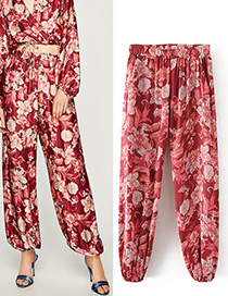 Fashion Red Flower Pattern Decorated Trousers
