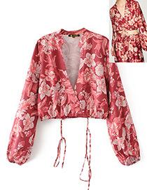Fashion Red Flower Pattern Decorated Smock