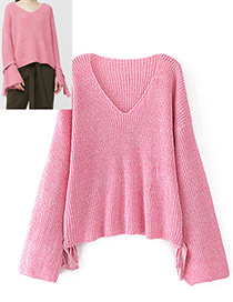 Fashion Pink Pure Color Decorated Sweater