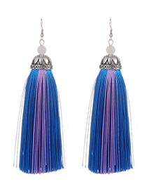 Fashion Lake Blue Tassel Decorated Earrings