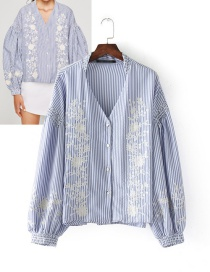 Fashion Blue Embroidery Flower Decorated V Neckline Shirt