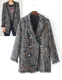 Fashion Gray Pearls Decorated Coat