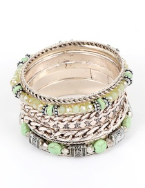 Fashion Green Bead Decorated Multi-layer Bracelet (8 Pcs)