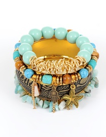 Fashion Blue Bead Decorated Multi-layer Bracelet (4 Pcs)
