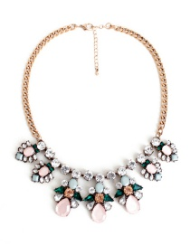 Fashion Pink Flower Shape Decoraetd Necklace