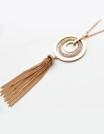 Fashion Gold Color Diamond Decorated Tassel Necklace