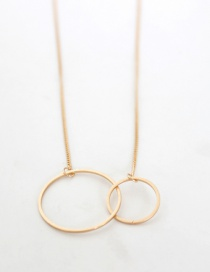 Fashion Gold Color Circular Ring Shape Decorated Necklace