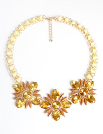 Fashion Yellow Flower Shape Decoraetd Necklace
