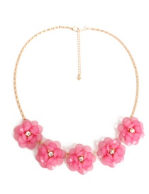 Fashion Plum Red Flower Decorated Necklace