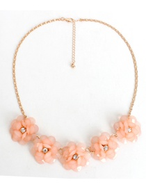 Fashion Light Orange Flower Decorated Necklace