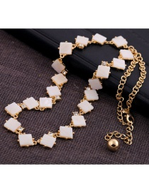 Fashion White Square Shape Decorated Necklace
