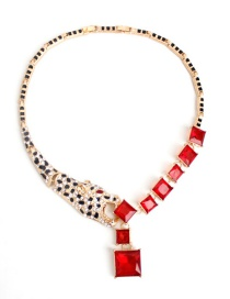 Fashion Red Diamond Decorated Necklace