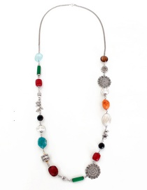 Fashion Multi-color Diamond Decorated Necklace