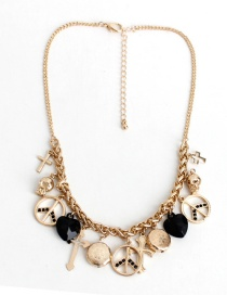 Fashion Gold Color+white Heart Shape Decorated Necklace