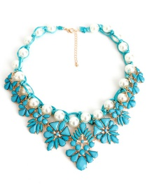 Fashion Blue Pearl Decorated Necklace