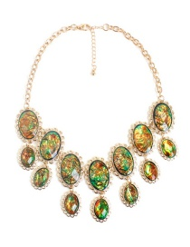 Fashion Multi-color Oval Shape Decorated Necklace