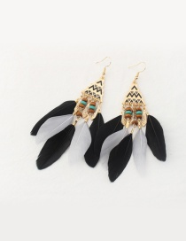 Fashion Black Feather Decorated Tower Shape Pure Color Earrings