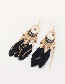 Fashion Black Feather Decorated Tassel Pure Color Earrings