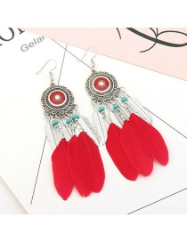 Vintage Red Feather&beads Decorated Pure Color Earrings