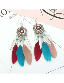 Vintage Multi-color Feather&beads Decorated Pure Color Earrings