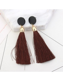 Fashion Coffee Long Tassel Decorated Pure Color Earrings