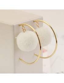 Personalized White Circular Ring&fuzzy Ball Decorated Pom Earrings