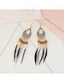 Vintage Black Feathers&beads Decorated Long Earrings