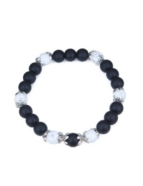 Fashion White+black Pure Color Decorated Bracelet