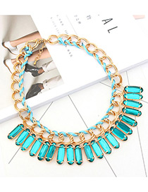 Trendy Green Square Shape Diamond Decorated Pure Color Necklace