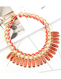 Trendy Red Square Shape Diamond Decorated Pure Color Necklace