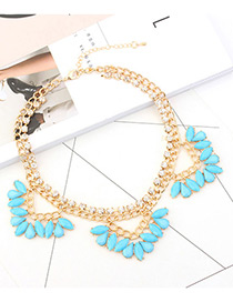 Fashion Blue Oval Shape Diamond Decorated Double Layer Necklace