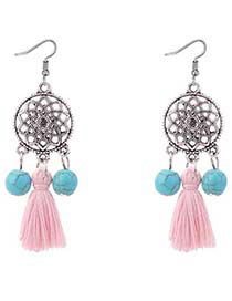 Bohemia Pink Wind Chimes Decorated Tassel Earrings