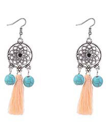 Bohemia Light Orange Wind Chimes Decorated Tassel Earrings