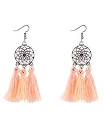 Bohemia Light Orange Hollow Out Decorated Tassel Earrings