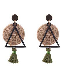 Personality Green Triangle Shape Decorated Tassel Earrings