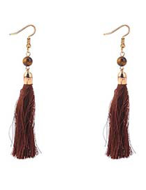 Bohemia Brown Long Tassel Decorated Earrings