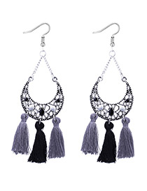Fashion Black+gray Tassel Decorated Earrings