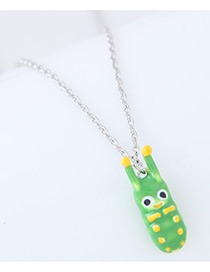 Fashion Green Caterpillar Shape Decorated Earrings