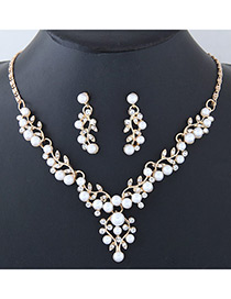 Fashion Gold Color Leaf Shape Decorated Jewelry Set
