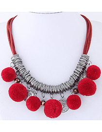 Fashion Red Ball Decorated Pom Necklace