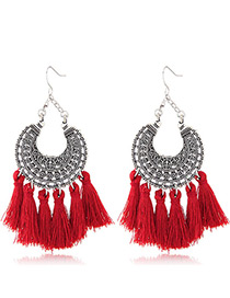 Trendy Red Moon Shape Decorated Tassel Earrings